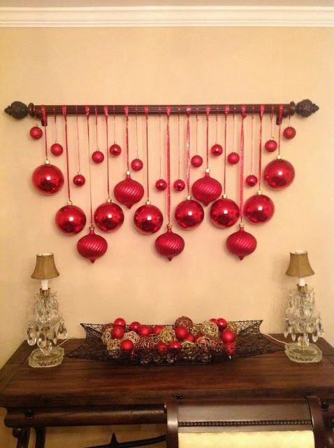 Esferas de colo rojo para navidad