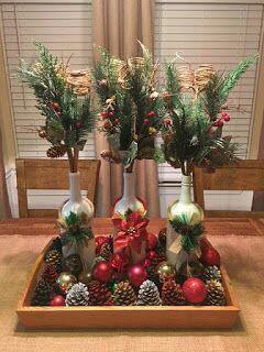 Centro de mesa con esferas navideñas