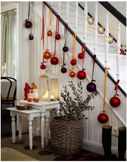 Decoración de la escalera para navidad